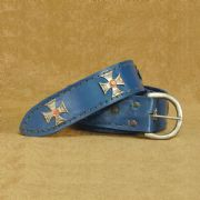Medieval Crusader Blue Leather Belt